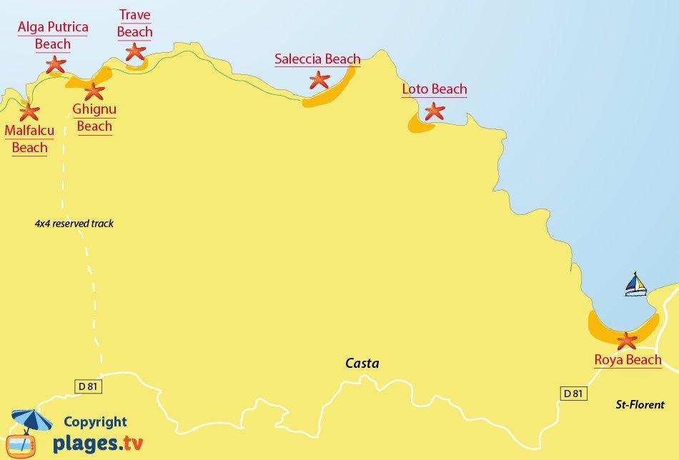 Map of beaches in desert of Agriates - Corsica - Santo-Pietro-di-Tenda