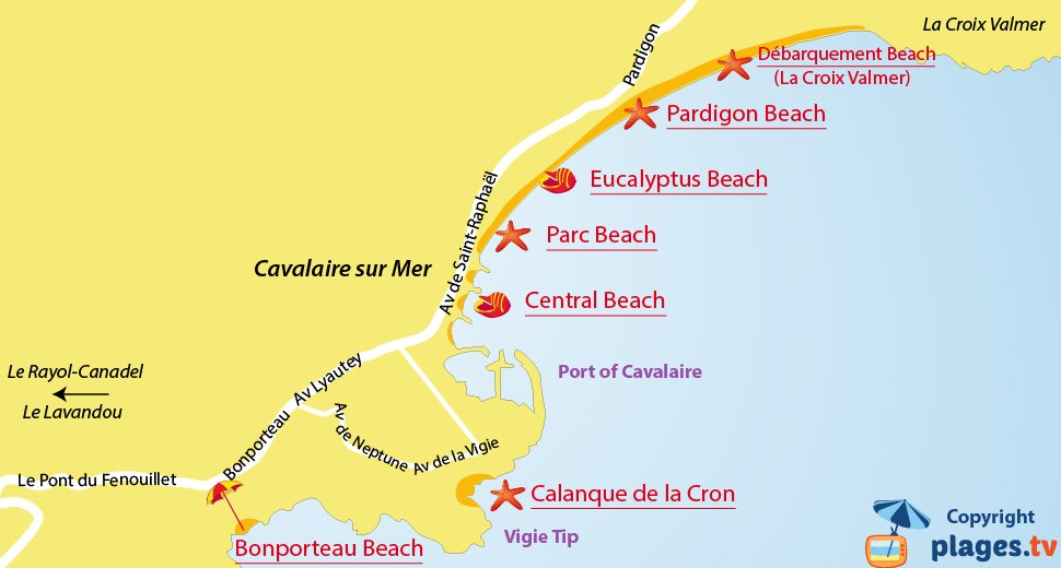 Map of Cavalaire-sur-Mer beaches in France
