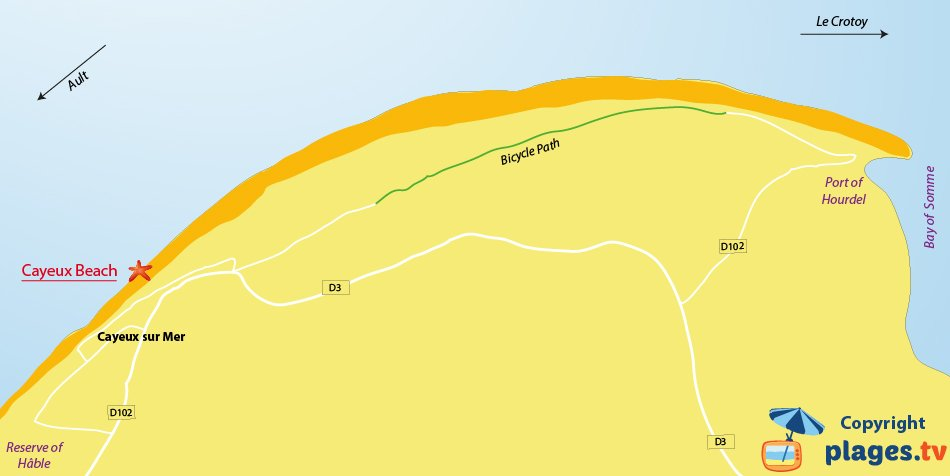 Map of Cayeux-sur-Mer beach in France