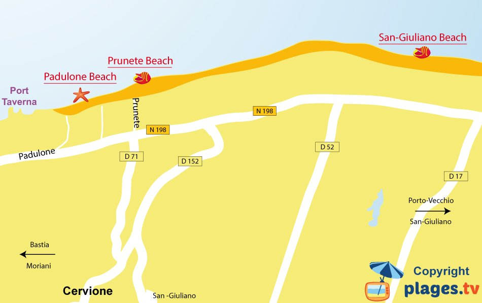 Map of Cervione beaches in Corsica