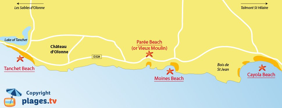 Map of Chateau d'Olonne beaches in France