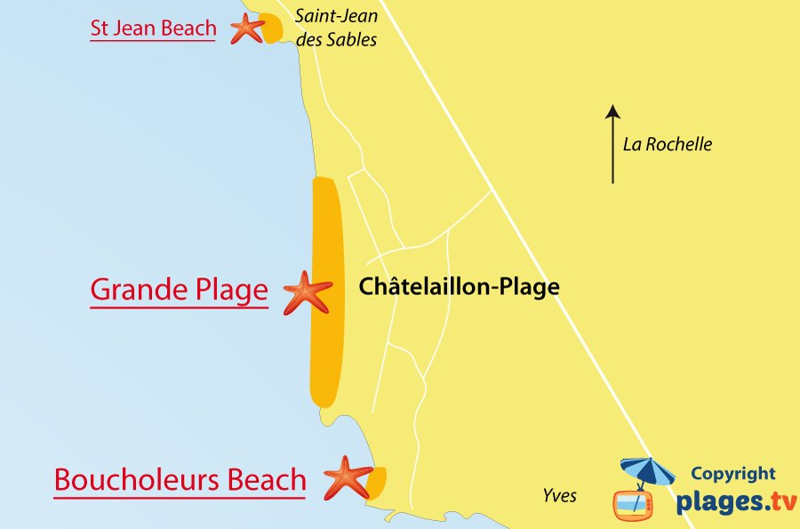 Map of Chatelaillon-Plage beaches in France