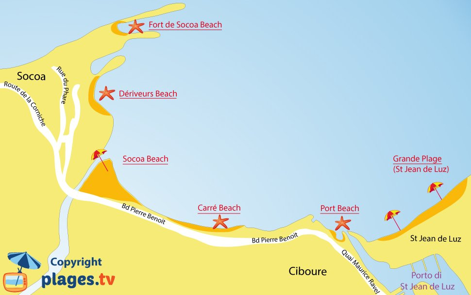 Map of Ciboure beaches in France