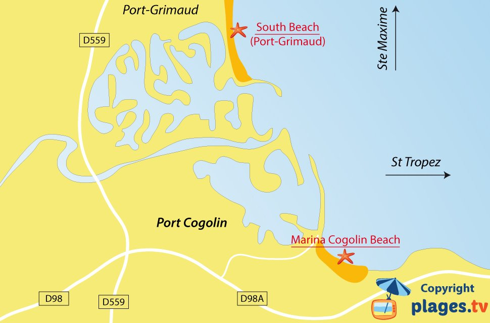Map of Cogolin beaches in France