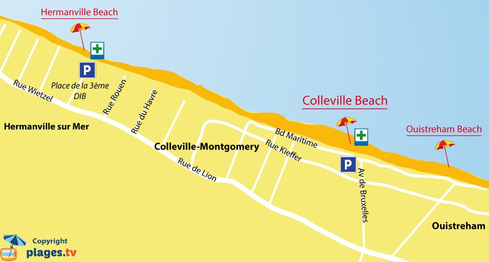 Map of Colleville Montgomery beaches in Normandy