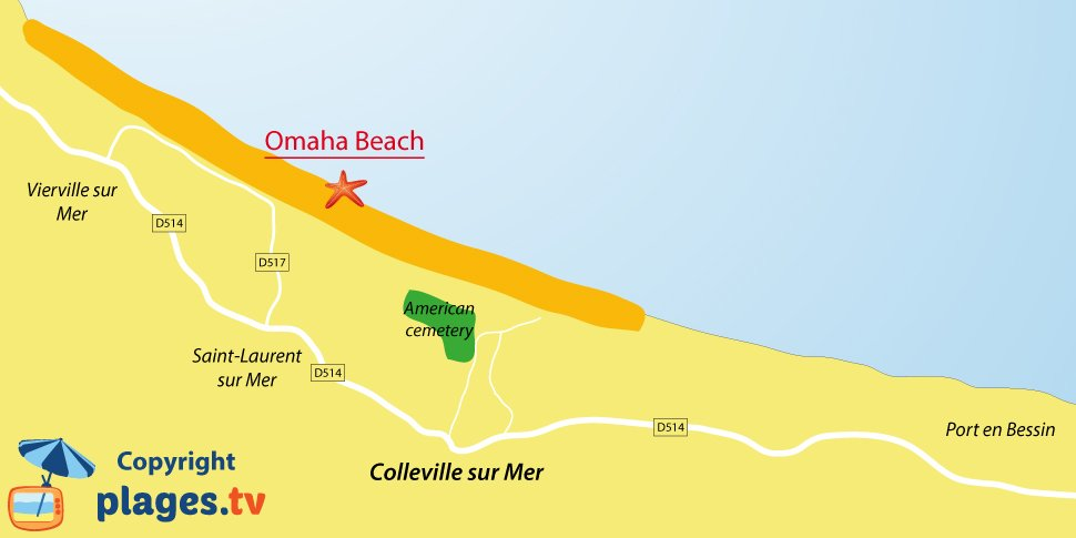 Map of Colleville sur Mer beaches - Normandy - France
