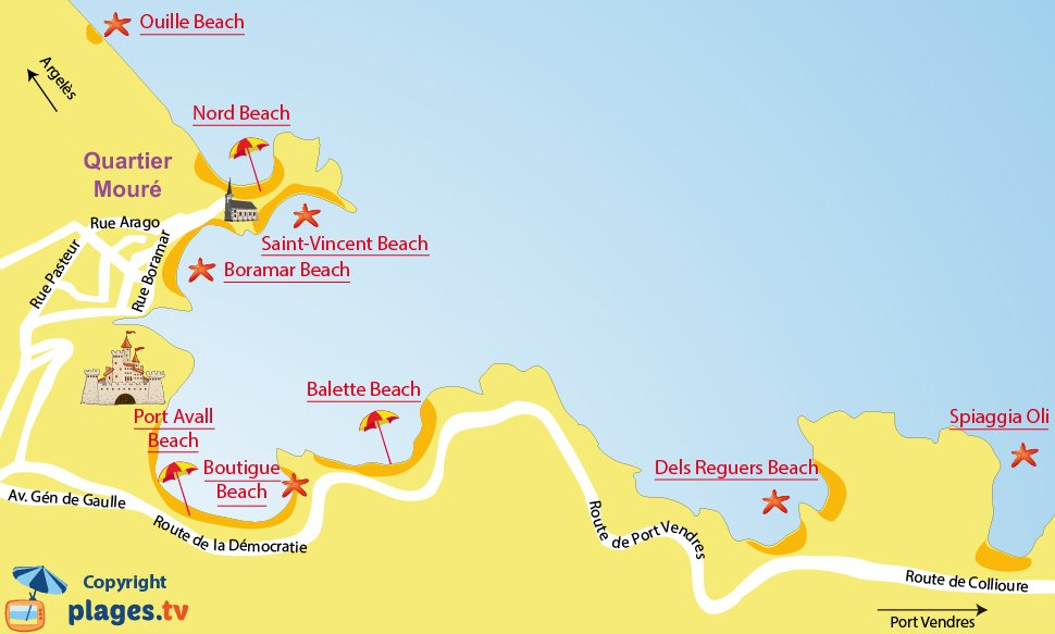 Map of Collioure Beaches in France