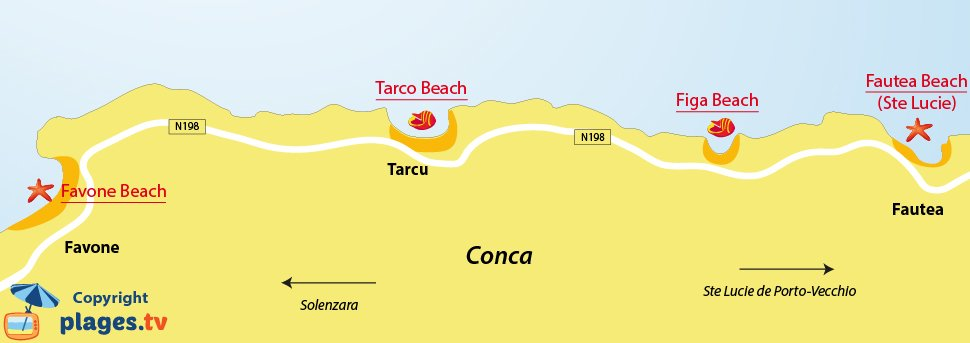 Map of Conca beaches in Corsica