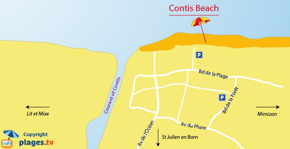 Map of Contis beaches in France