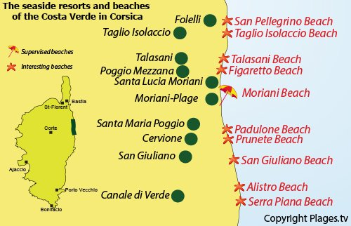 Map of Costa Verde beaches in Corsica - France