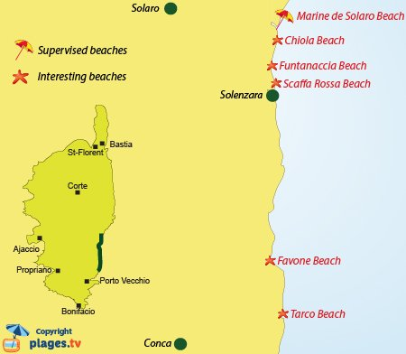 Map of interesting beaches on the Cote des Nacres in Corsica - France