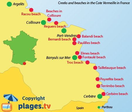 Map of Cote Vermeille beaches and creeks in France