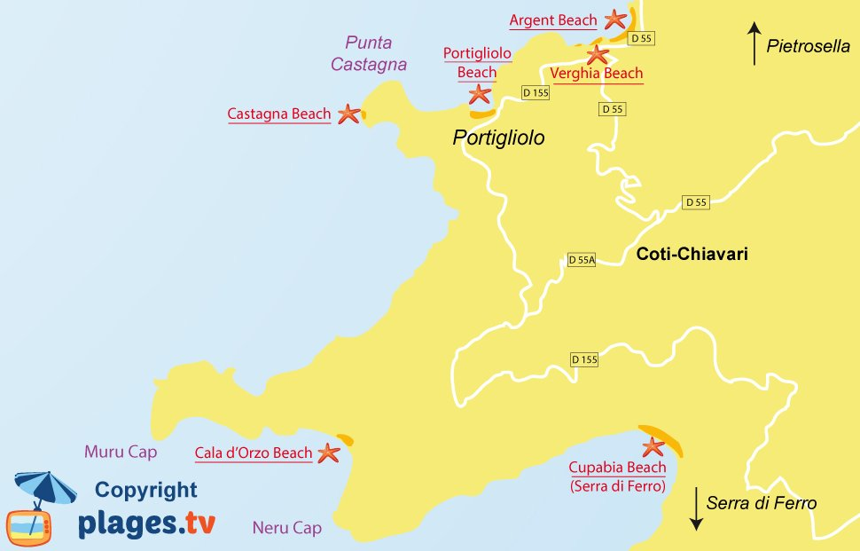 Map of Coti-Chiavari beaches in Corsica