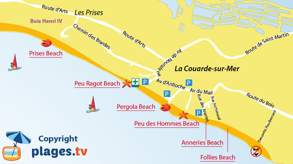 Map of beaches in La Couarde sur Mer - Island of R�