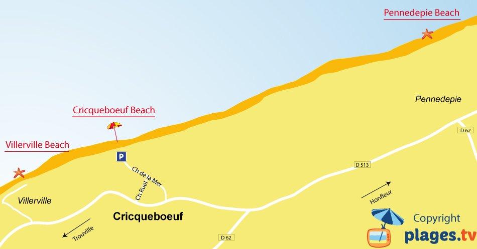 Map of Cricqueboeuf beaches in Normandy
