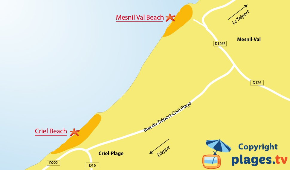 Map of Criel sur Mer beaches in France (Normandy)