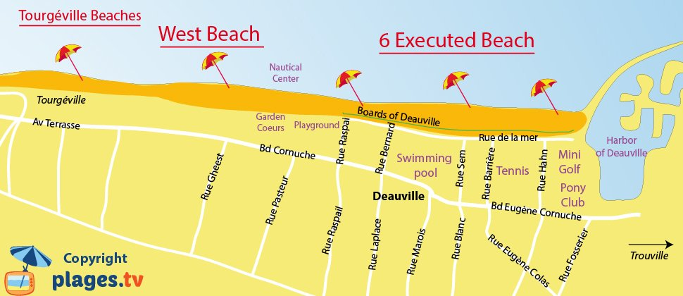 Map of Deauville beaches in Normandy in France