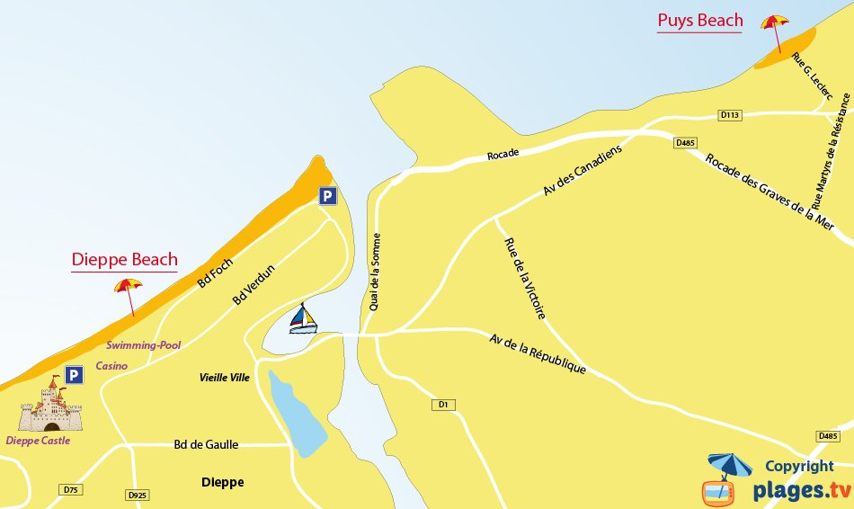 Map of the Dieppe beaches in France
