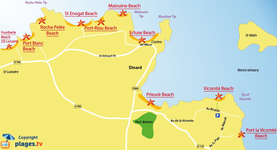 Map of the Dinard beaches in France - Brittany