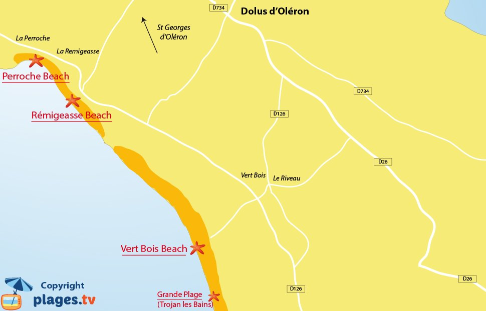 Map of Dolus d'Oleron beaches in France
