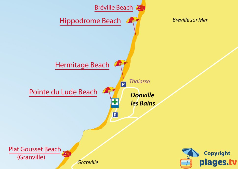 Map of Donville beaches in France