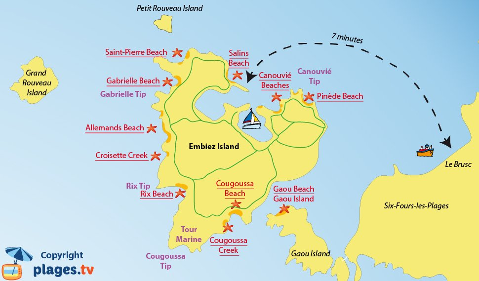 Map of Embiez island beaches in France