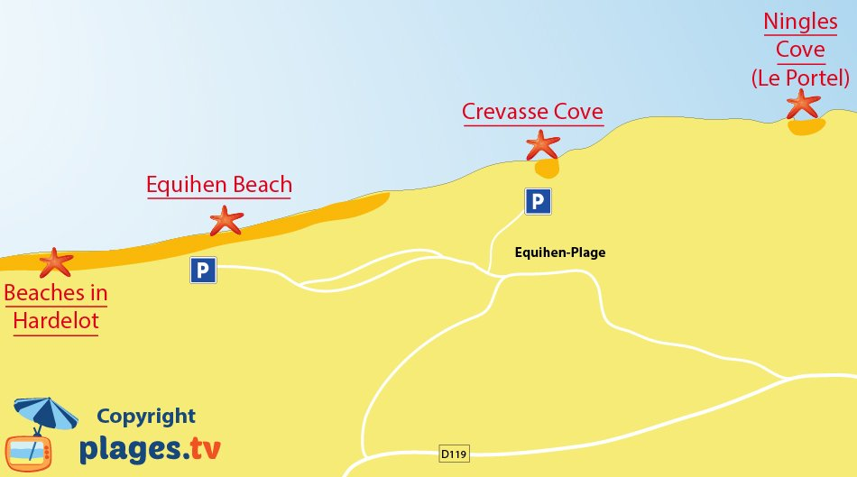 Map of Equihen beaches in France