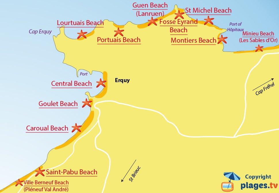 Map of Erquy beaches in France