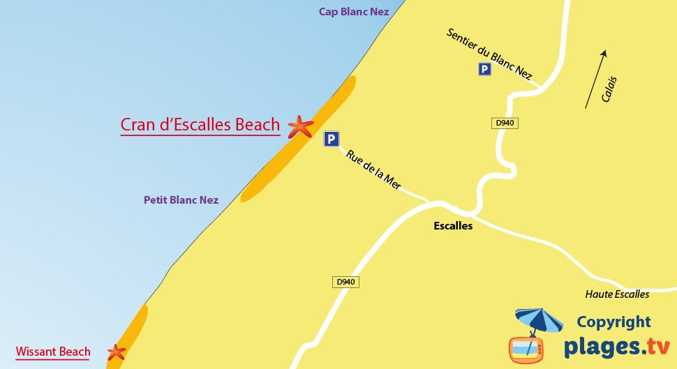 Map of Escalles beaches in France