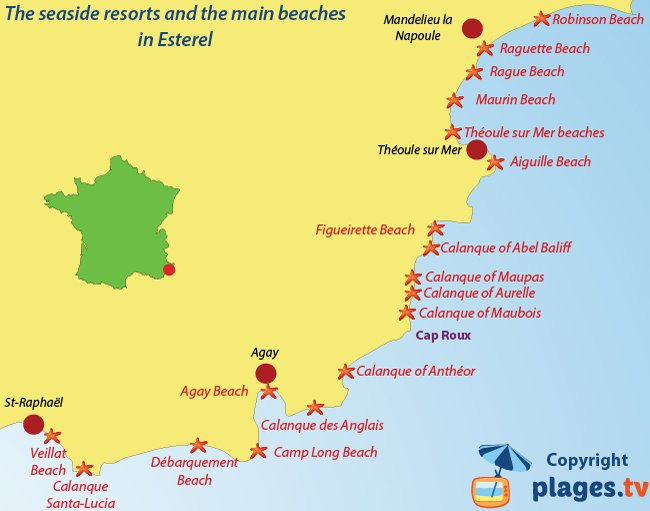 Map of Esterel beaches and seaside resorts - France