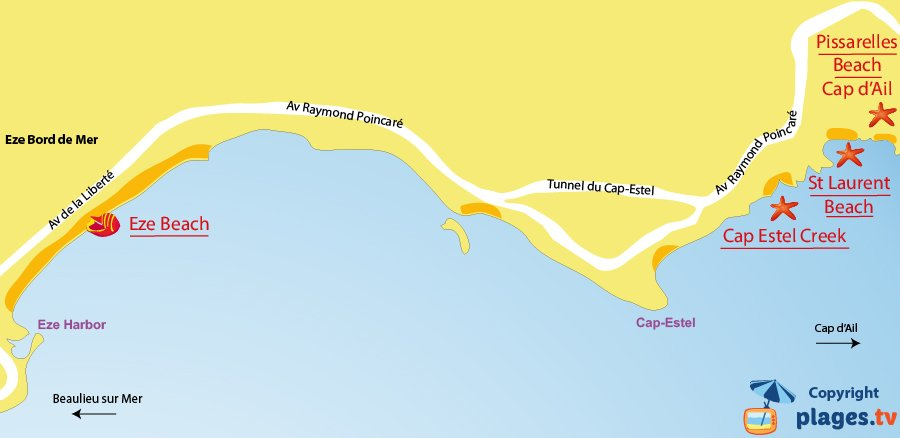 Map of Eze beach in France