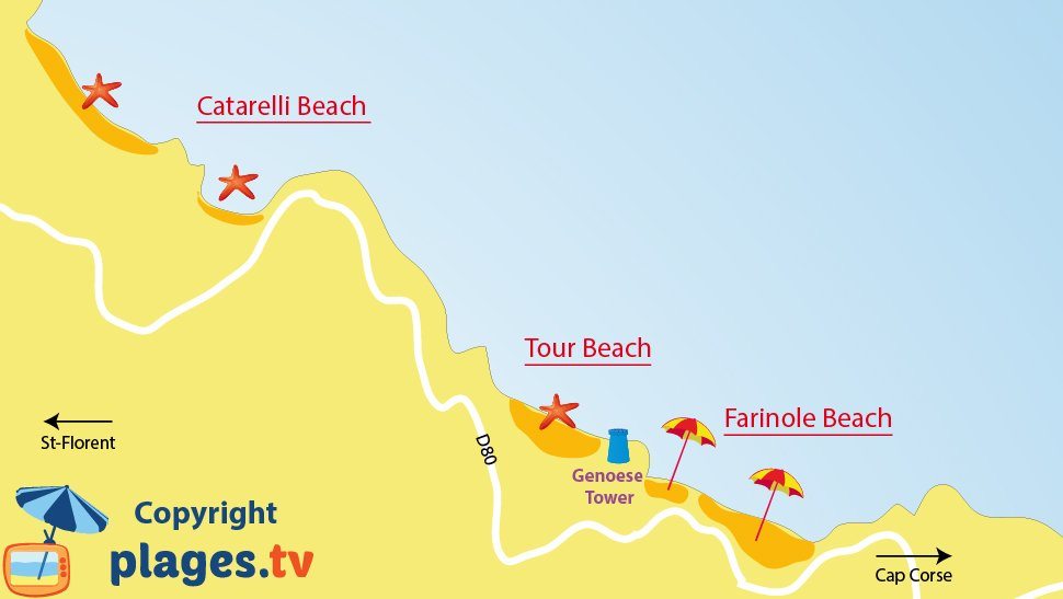 Map of Farinole beaches in Corsica