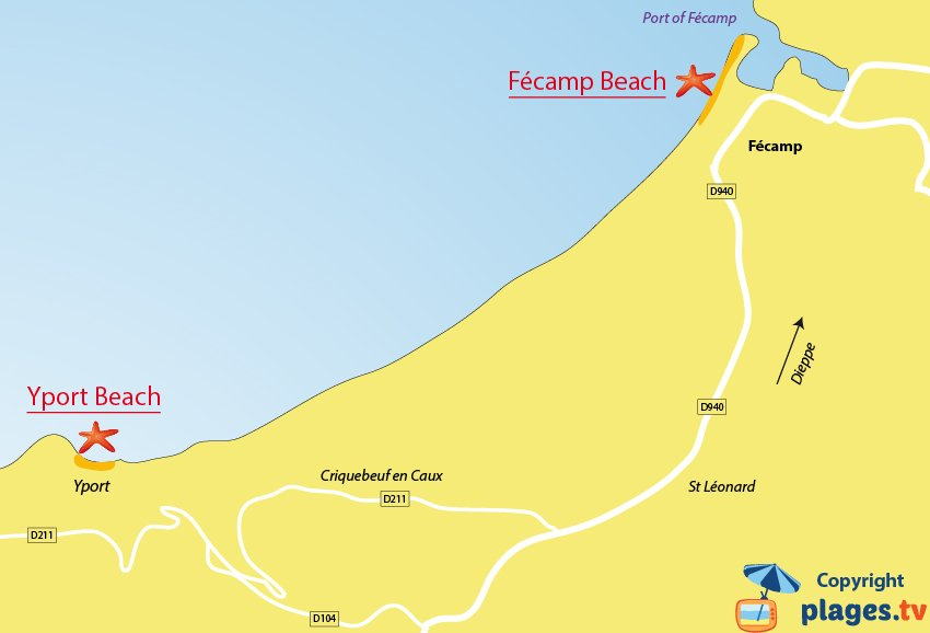Map of the Fecamp beaches in France