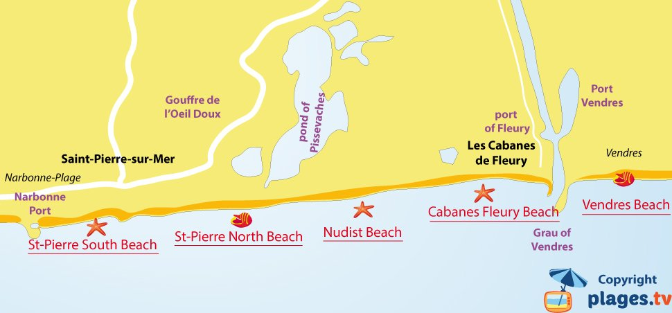Map of Fleury d'Aude beaches in France