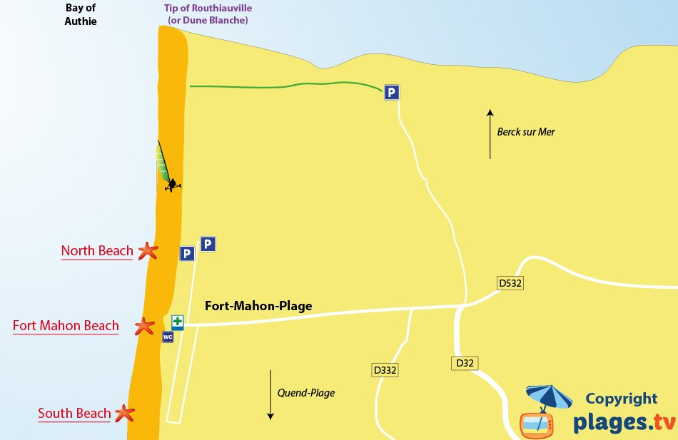Map of beaches of Fort-Mahon in North of France