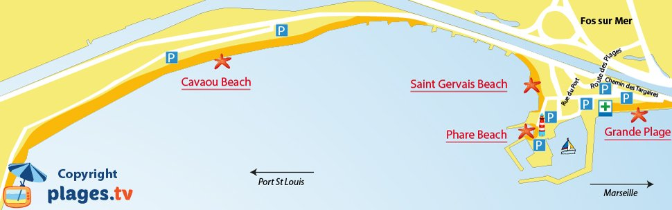 Map of Fos sur Mer beaches in France