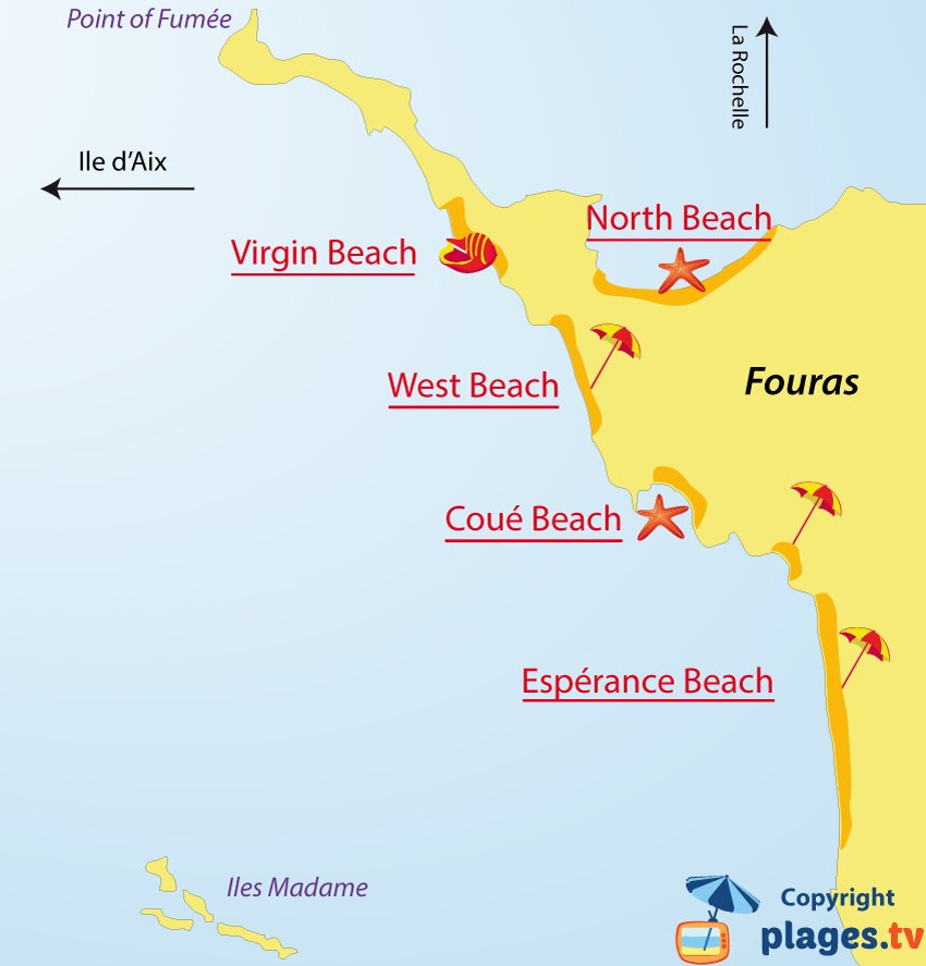 Map of Fouras beaches in France