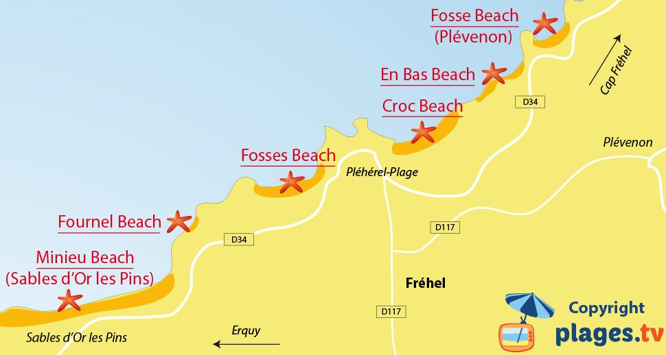 Map of Frehel beaches in France - Brittany