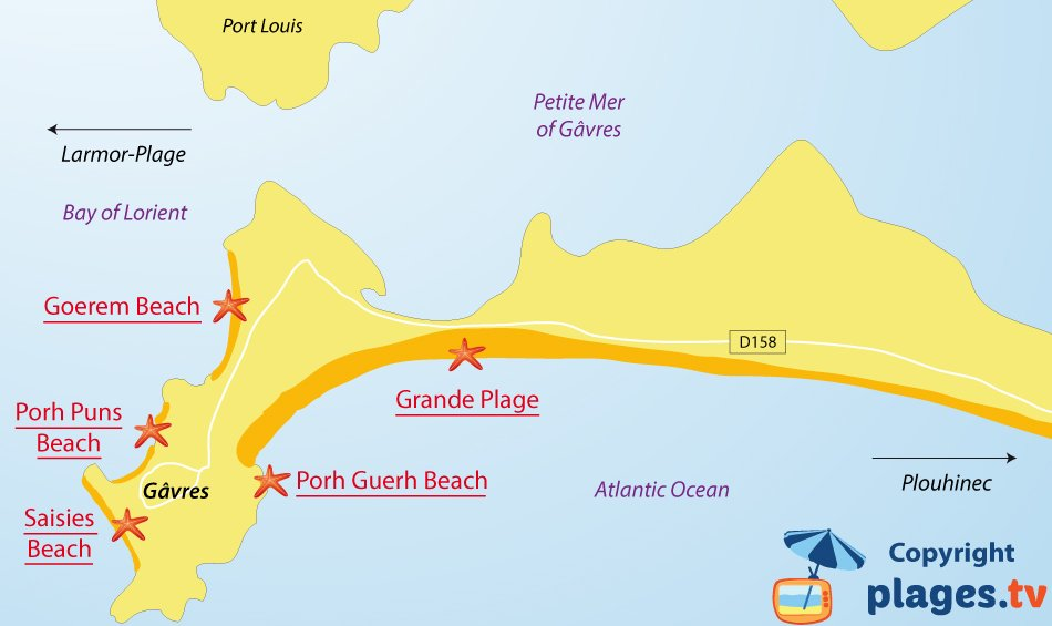 Map of Gavres beaches in France - Brittany