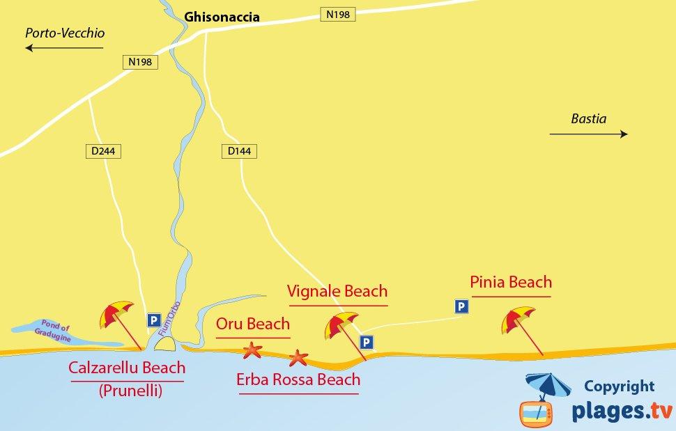 Map of Ghisonaccia beaches in Corsica