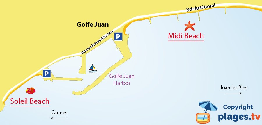 Map of Golfe Juan beaches in France