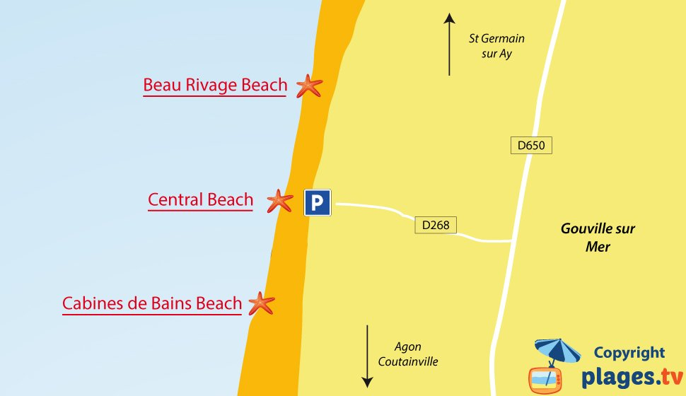 Map of Gouville sur Mer beaches in France