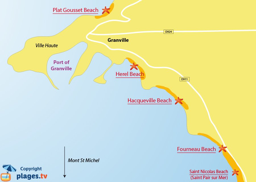 Map of Granville beaches in France