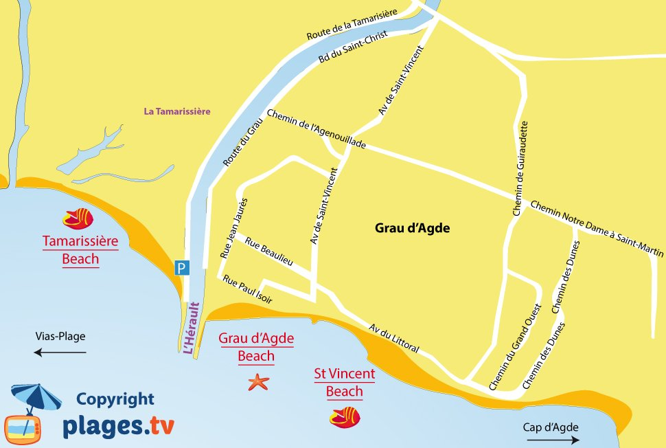 Beaches in Grau d\'Agde France (34) - Seaside resort of Le Grau d ...