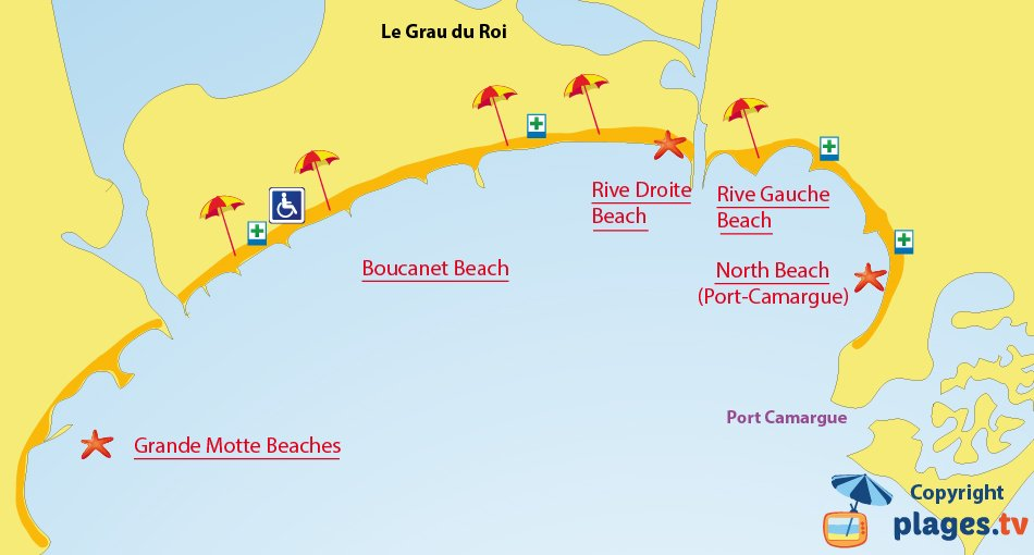 Map of the Grau du Roi beaches in France
