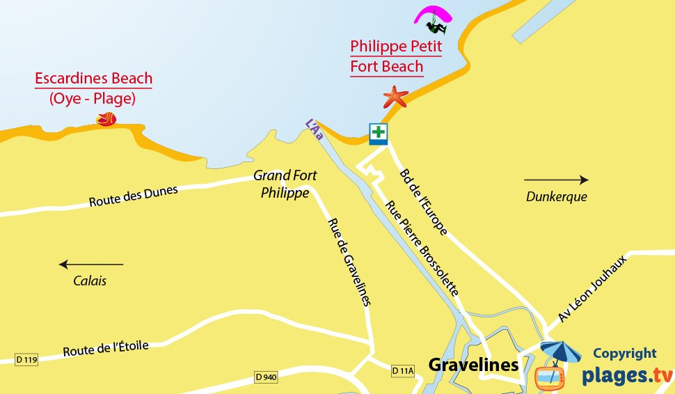 Map of Gravelines Beaches in North of France