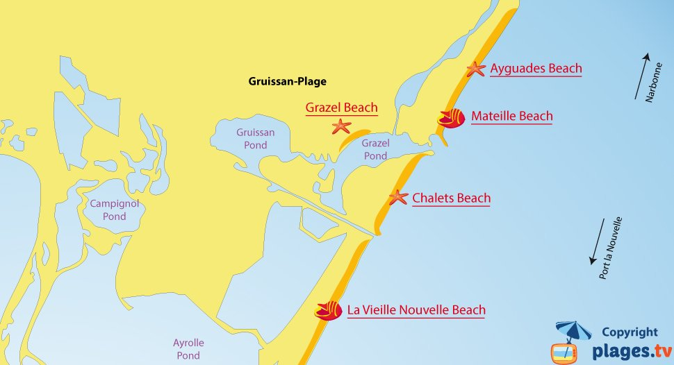 Map of Gruissan beaches in France