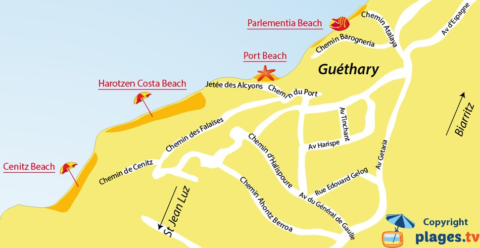 Map of Guethary beaches in France