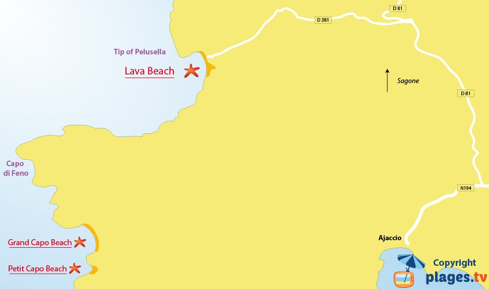 Map of Appietto beaches in the gulf of Lava - Corsica