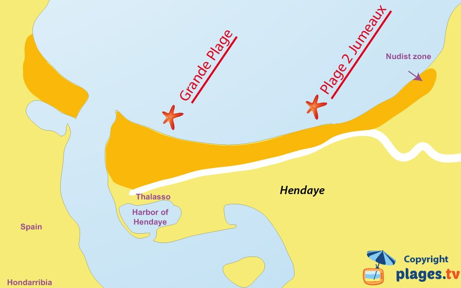 Map of the Hendaye beaches in France